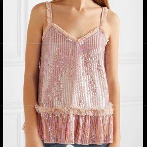 Neddle&Thread Soft Blush Sequined Chiffon Camisole